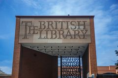 British Library. The entrance arch to the British Library which holds the national library of the United Kingdoms. Built in 1973. London. 09.24.2017 royalty free stock images