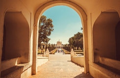 Entrance in arch to historical building of Tipu Sultan Gumbaz in Srirangapatna, India. 18th century Muslim mausoleum Royalty Free Stock Photo