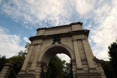 Entrance arch to a Park in Dublin downtown Stock Image