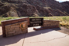 Entrance of Arches National Park, Utah, USA Royalty Free Stock Images
