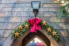 Entrance Archway. A festive decorated entrance archway to the railway station Royalty Free Stock Photos
