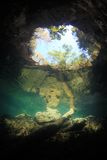 Entrance area of cenote underwater cave Stock Photo
