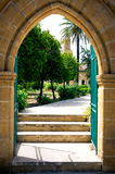 Entrance into the backyard of mosque in Nicosia Stock Image