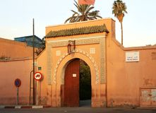 Entrance in Bahia Palace in Marrakech stock photo