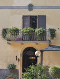 Entrance and balcony of ancient manor in Tuscany Royalty Free Stock Image