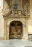 Entrance at the baroque church. Decorated entrance at the baroque church in ZAgreb, Croatia stock image