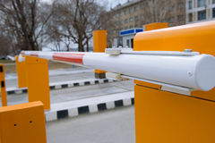 Entrance barrier. Barrier of a parking lot royalty free stock photo