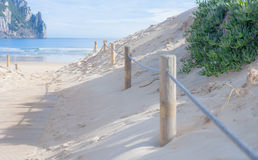 Entrance barrier to the beach Stock Image