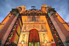 Entrance of Basilica of Our Lady of Guanajuato. Basílica de Nuestra Senora de Guanajuato stock photography