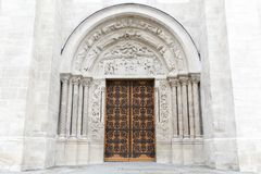 Entrance of the basilica Saint Denis. In France Stock Photo