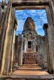Entrance of bayon temple - Cambodia (HDR). View through door entrance to a statue of bayon temple in angkor wat - Cambodia (HDR Stock Photos