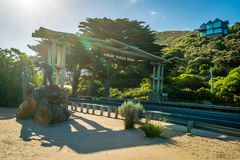 Entrance and beginning of the Great Ocean Road in Australia Stock Images