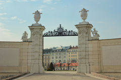 Entrance of the Belvedere Palace, Vienna. View of an entrance of the Belvedere Palace, Vienna, Austria Royalty Free Stock Photos