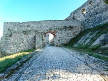 The entrance of Berat Castle, Albania royalty free stock images