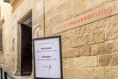 MALAGA, SPAIN - September 2nd, 2018: Picasso Museum entrance, located in an old classic palace in the city of Malaga, Spain. royalty free stock photography
