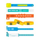 Entrance bracelets for public concerts or hotel, stadium, private zone. Vector design templates. Entrance plastic bracelet for access to entertainment Stock Photography