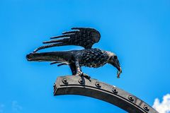 Entrance Buda Castle, Budapest, Hungary. A raven with a ring in its mouth adorns the entrance gate to the Buda Castle. This is reminiscent of King Matthias who Stock Photos