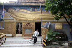 Entrance of the Buddhist temple in Cambodia Royalty Free Stock Image