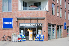 Entrance of a Budnikowsky store stock images