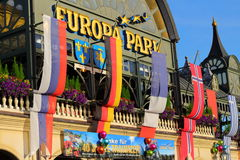 Ensigns at entrance building Europa Park Royalty Free Stock Photo