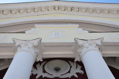 At the entrance. The building of the Palace of culture,architecture,pillars, roof,monogram,the sky outside the city Stock Photos