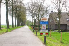 Entrance of the built up area in rural village Eemnes, Netherlands Royalty Free Stock Photos