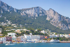 Entrance of Capri island port, Italy, Bay of Naples Stock Photography