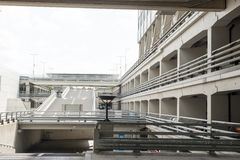 Entrance of car parking deck. Entrance and exit of multilevel car parking deck royalty free stock photos