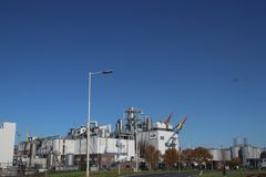 Entrance of the Cargill plant with Tanks and pipes in the chemical industries in the Botlek Harbor in Rotterdam in the Netherlands.  royalty free stock photo