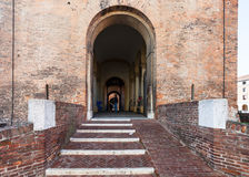 Entrance in Castello Estense in Ferrara city Stock Photos