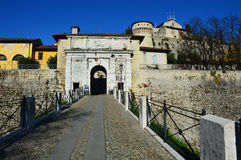 Entrance of the Castle in Brescia city, Italy Royalty Free Stock Images