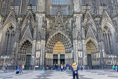 Entrance of the cathedral of Cologne or High Cathedral of Saint Peter Stock Images