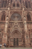 Entrance of Cathedral of Our Lady of Strasbourg royalty free stock image