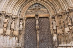 Entrance of cathedral of Santa Maria in Morella, Maestrazgo, Cas. Tellon, Spain royalty free stock images