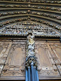 Entrance of a cathedral with statutes. Entrance of a cathedral with pillars and statutes and ornaments. frog view Royalty Free Stock Image