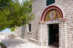 Entrance into the chapel in monastery on Pantokrator, the highes Stock Image