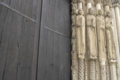 The entrance of Chartres cathedral Royalty Free Stock Image