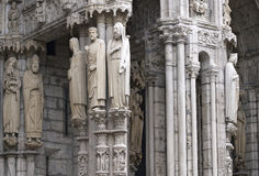 The entrance of Chartres cathedral. Crowd of Saints at the entrance of Chartres cathedral Stock Images
