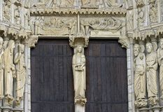 The entrance of Chartres cathedral Stock Photos