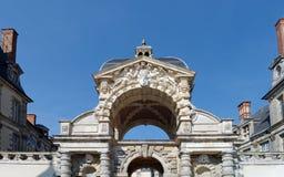 Entrance of the chateau de Fontainebleau stock photos