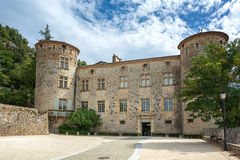 The entrance of the Chateau of Vogue on the banks of the Ardeche. Dominating a village classified among the most picturesque in France, on the banks of the Royalty Free Stock Photos
