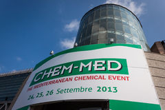 Entrance at Chem-Med, the Mediterranean chemical e Royalty Free Stock Photo