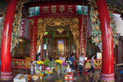 Entrance of Chinese Temple in Thailand Stock Photography