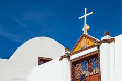 The entrance of a church in Imerovigli village, Santorini Stock Photos