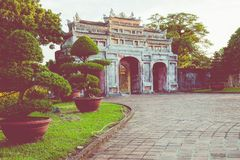 Entrance of Citadel. Imperial Royal Palace of Nguyen dynasty in. Hue, Vietnam. Unesco World Heritage Site royalty free stock photos