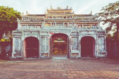 Entrance of Citadel. Imperial Royal Palace of Nguyen dynasty in. Hue, Vietnam. Unesco World Heritage Site royalty free stock image