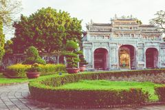 Entrance of Citadel. Imperial Royal Palace of Nguyen dynasty in. Hue, Vietnam. Unesco World Heritage Site stock photos
