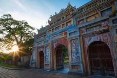 Entrance of Citadel. Imperial Royal Palace of Nguyen dynasty in. Hue, Vietnam. Unesco World Heritage Site stock image
