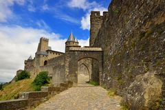 Entrance of the Cite de Carcassonne. A medieval fortified city in southern France (Aude department stock photo