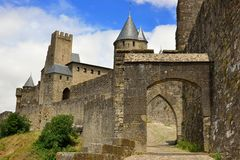 Entrance of the Cite de Carcassonne, a medieval fortified city. In southern France (Aude department Royalty Free Stock Photo